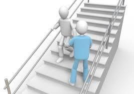 nurse climbing stairs