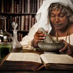 Halloween alchemist working at night with mortar and pestle